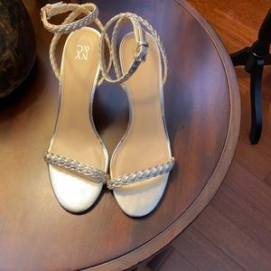 Metallic Braided-Strap High-Heel Sandal